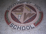 Mosaic in SWHS front entrance. Photo taken Oct 2009.